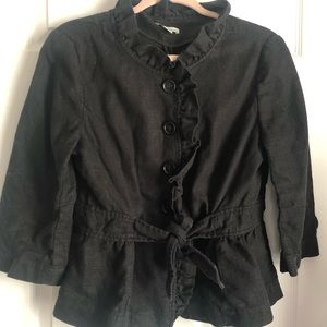 Loft 3/4 sleeves ruffle front linens blend blazer